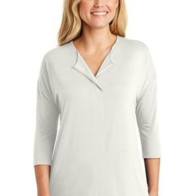 Ladies Concept 3/4 Sleeve Soft Split Neck Top Thumbnail