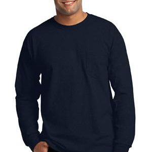 Ultra Cotton ® 100% Cotton Long Sleeve T Shirt with Pocket Thumbnail